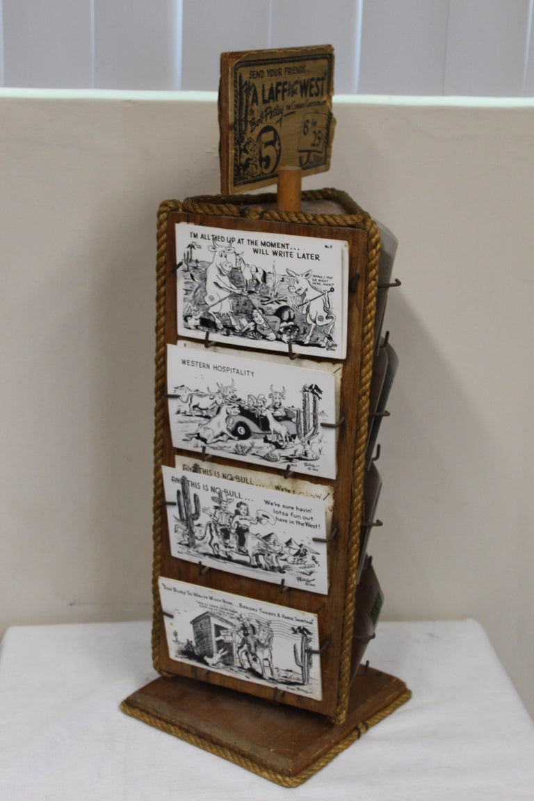 Wood 1940s Post Card Display Rack by Bob Petley For Sale