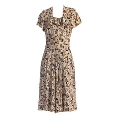1940S Printed Rayon Crepe Dress With Bows & Pockets