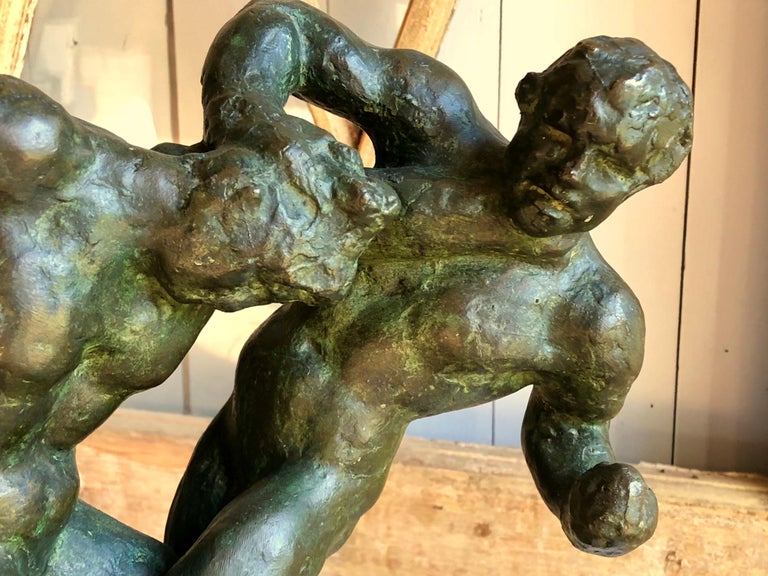1940s Pugilist Sculpture in Bronze by Saverio Gatto For Sale 4