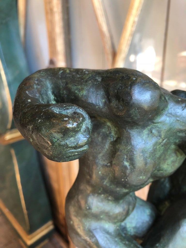 1940s Pugilist Sculpture in Bronze by Saverio Gatto For Sale 11