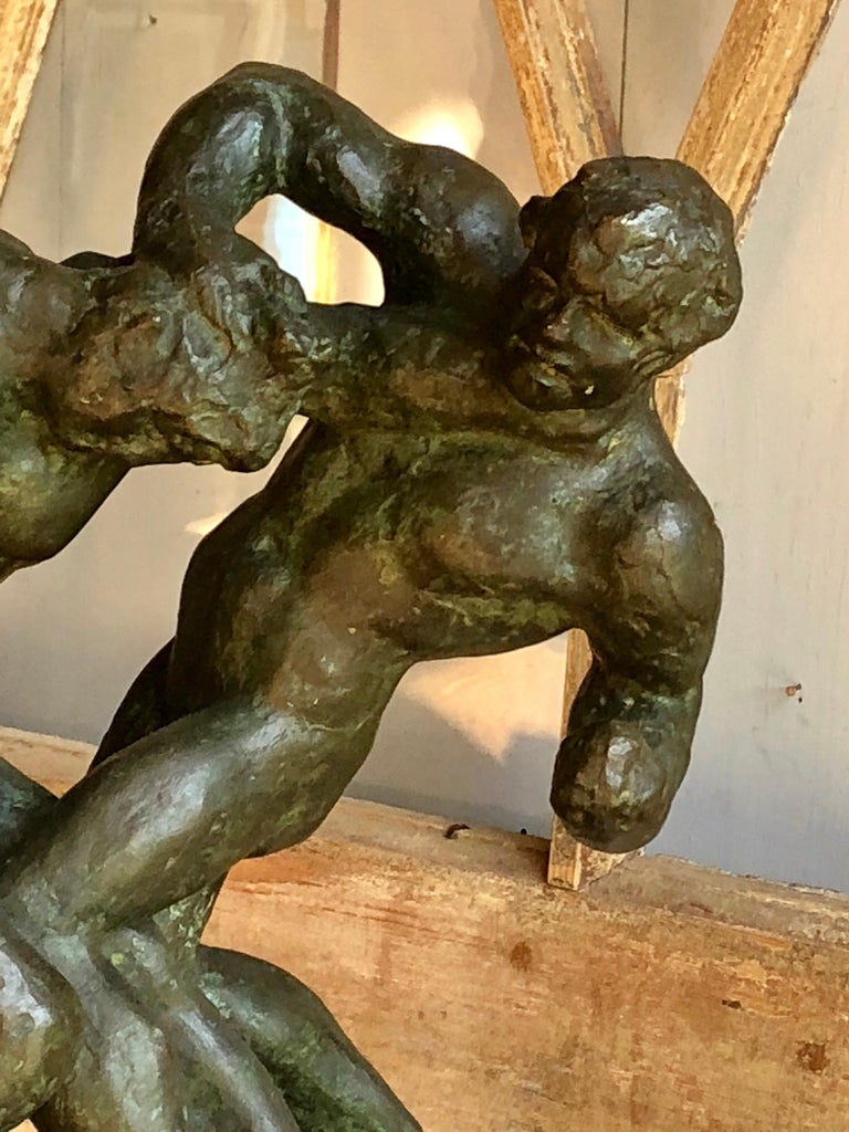 1940s Pugilist Sculpture in Bronze by Saverio Gatto In Good Condition For Sale In Doylestown, PA