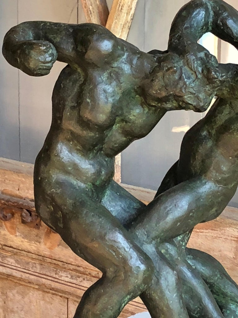 1940s Pugilist Sculpture in Bronze by Saverio Gatto For Sale 1