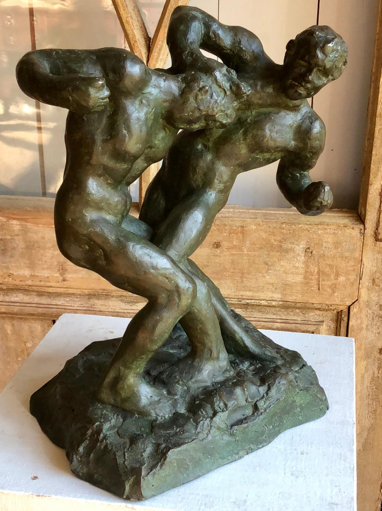 1940s Pugilist Sculpture in Bronze by Saverio Gatto For Sale 3