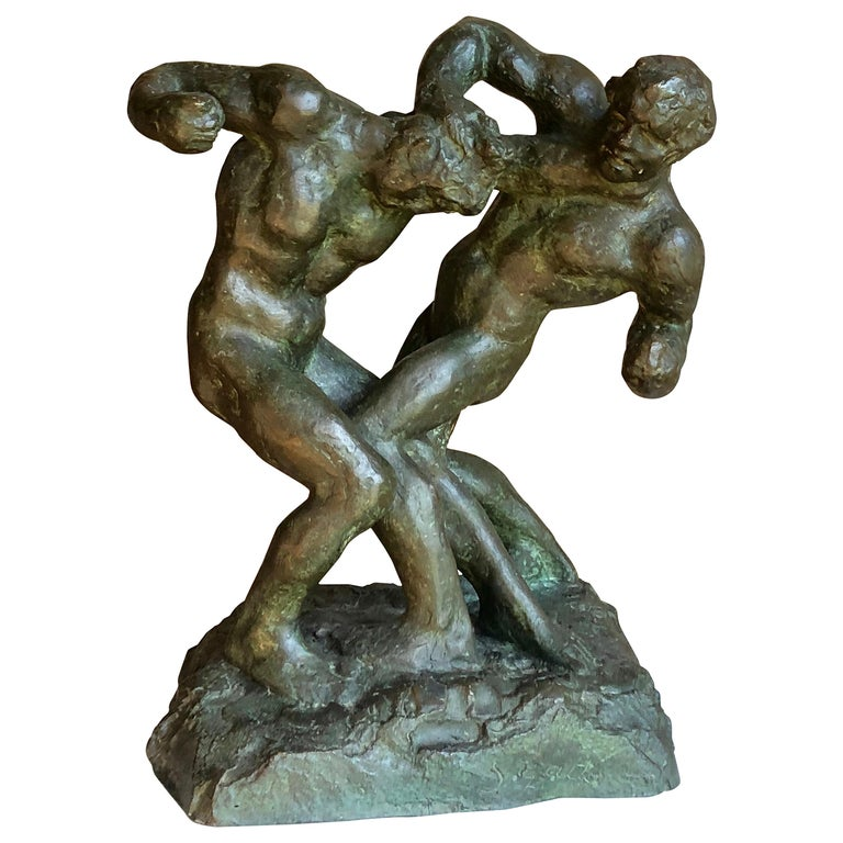 1940s Pugilist Sculpture in Bronze by Saverio Gatto For Sale