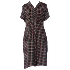 1940S Purple, Green & White Plaid Cotton Zip Front Dress