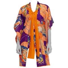 1940S Purple & Orange Silk Floral Printed Childs  Kimono With Bow Neck
