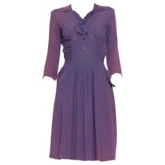 1940S Purple Rayon Blend Crepe Silver Studded Dress With Ruffles & Shirring, As