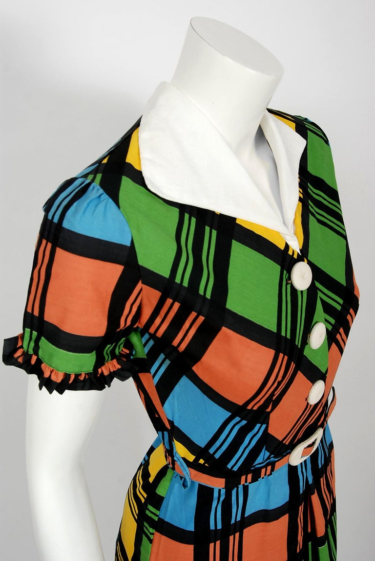 Black Vintage 1940's Rainbow Plaid Print Cotton Button-Down Belted Swing Dress w/ Tags For Sale