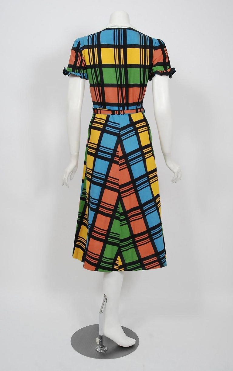 Vintage 1940's Rainbow Plaid Print Cotton Button-Down Belted Swing Dress w/ Tags For Sale 1