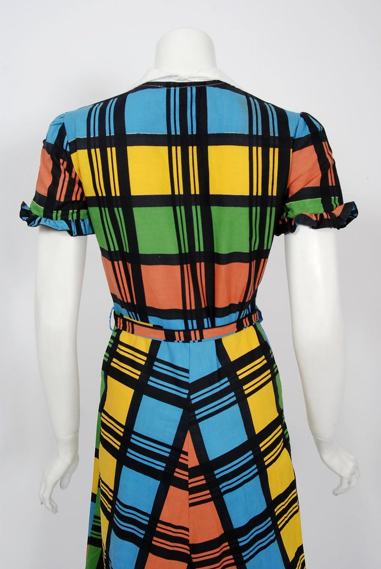 Vintage 1940's Rainbow Plaid Print Cotton Button-Down Belted Swing Dress w/ Tags For Sale 2