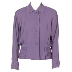 1940'S Lilac Wool Twill Gabardine Jacket With Interesting Padded Detailing