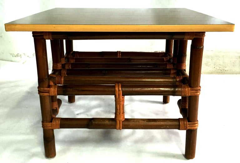 American 1940s Rattan and Formica Top Side Table by Calif-Asia For Sale