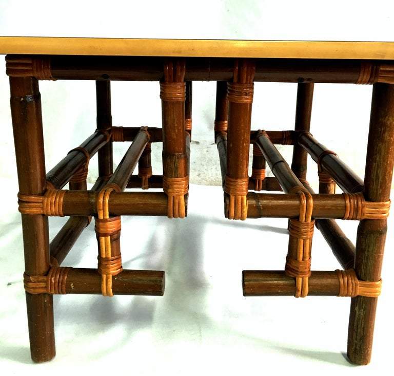 1940s Rattan and Formica Top Side Table by Calif-Asia In Good Condition For Sale In West Palm Beach, FL