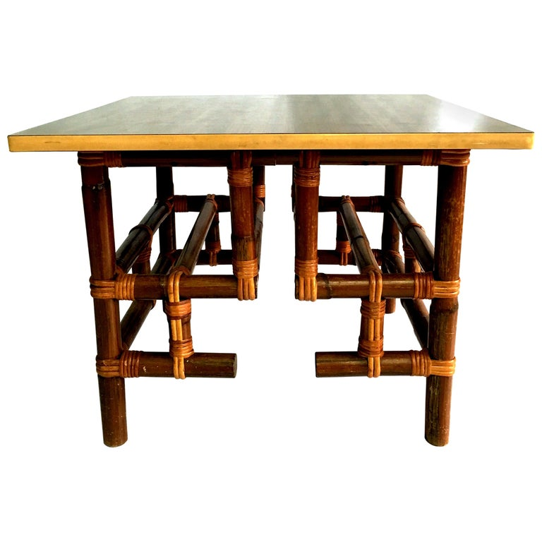 1940s Rattan and Formica Top Side Table by Calif-Asia For Sale