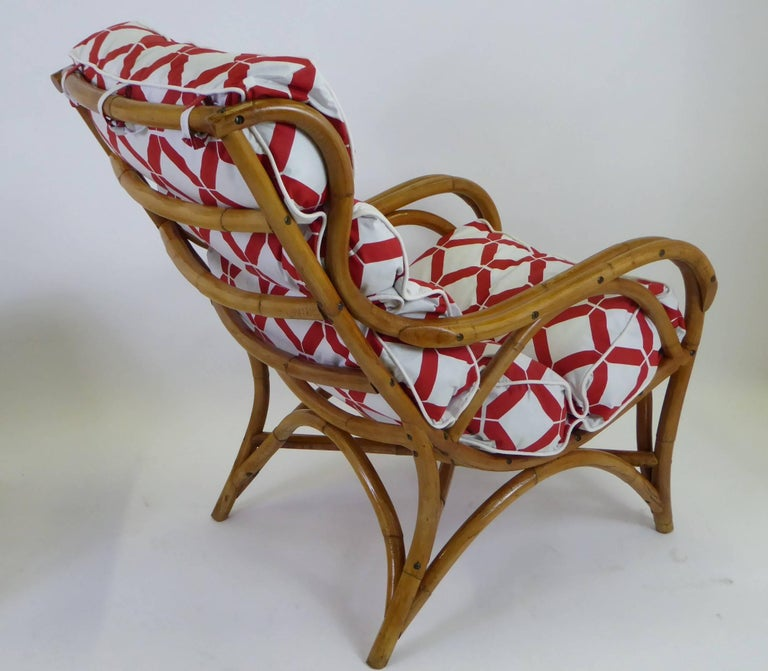 American 1940s Rattan Lounge Chair and Ottoman Paul Frankl Willow and Reed Style For Sale