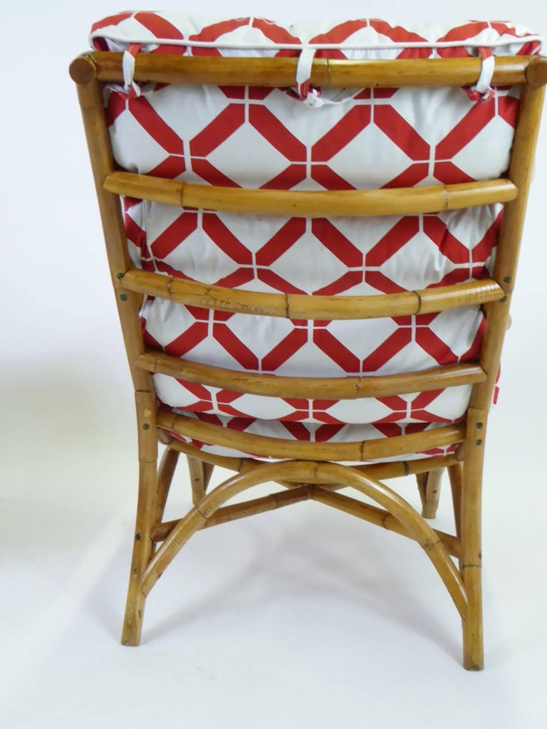 1940s Rattan Lounge Chair and Ottoman Paul Frankl Willow and Reed Style In Good Condition For Sale In Miami, FL
