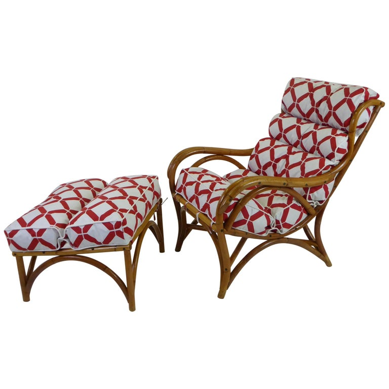 1940s Rattan Lounge Chair and Ottoman Paul Frankl Willow and Reed Style For Sale