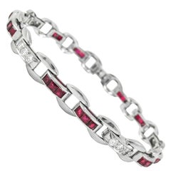 1940s Raymond Yard Ruby Diamond Platinum Bracelet