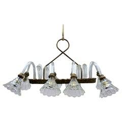 1940s Rectangular Pendant Light by Barovier