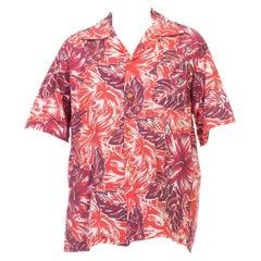 1940S Red & Burgundy Hawaiian Cotton Leaf Print Shirt