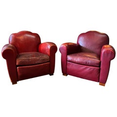 1940s Red Leather Camelback French Art Deco Club Chairs, a Pair