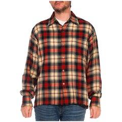 1940S Red Plaid Wool/Cotton Lightweight Men's Shirt