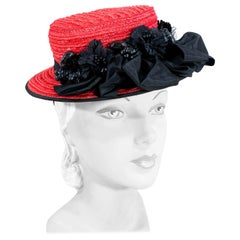 1940s Red Straw Toy Pork Pie Perch Hat