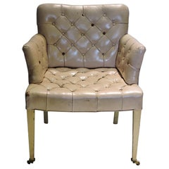 1940s Regency Pink Leather Button Tufted Chair
