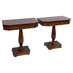 1940s Regency Style Carved Walnut and Gilt Console Tables, Pair