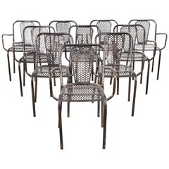 1940s Rene Malaval Bloc Metal Edition Armchairs, Set of Ten