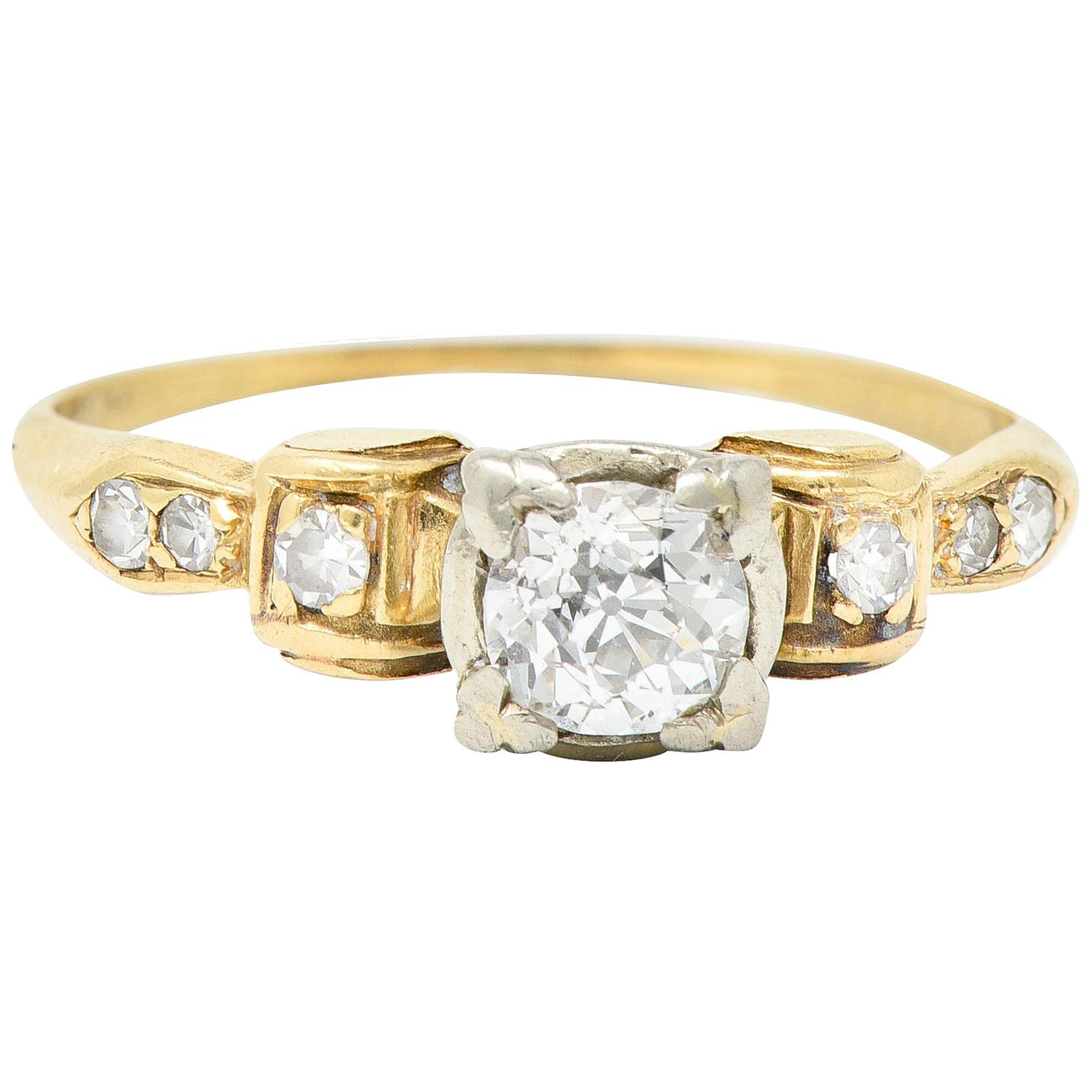 1940's Retro 0.50 Carat Diamond 14 Karat Two-Tone Gold Engagement Ring
