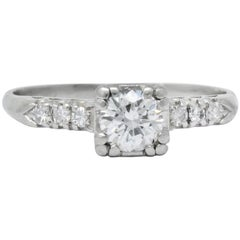 1940s Retro 0.50 Carat Diamond Platinum Engagement Ring