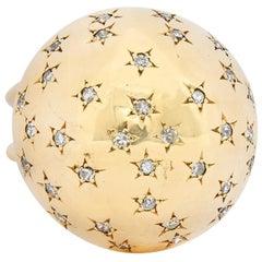 1940's Retro 0.75 Carat Diamond 14 Karat Gold Dome Ring
