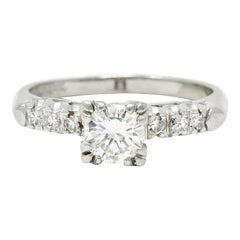 1940's Retro 0.78 Carat Diamond Platinum Fishtail Engagement Ring