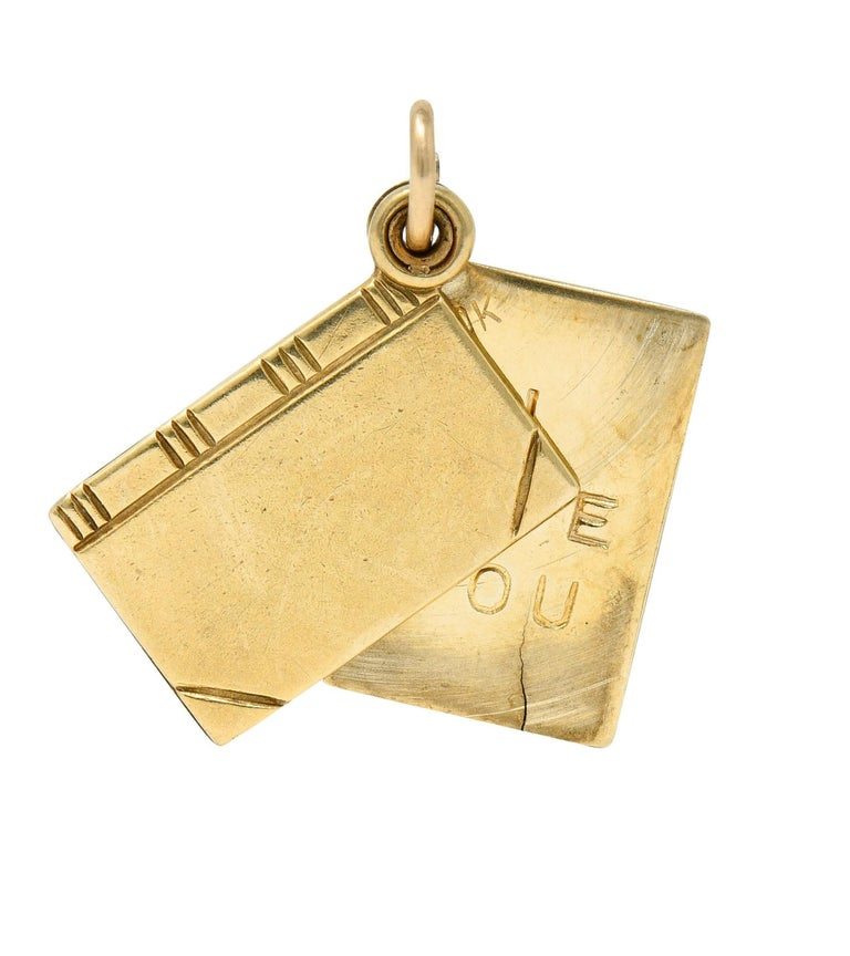 1940s Retro 10 Karat Gold I Love You Book Charm In Excellent Condition In Philadelphia, PA