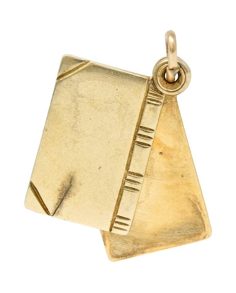 Women's or Men's 1940s Retro 10 Karat Gold I Love You Book Charm