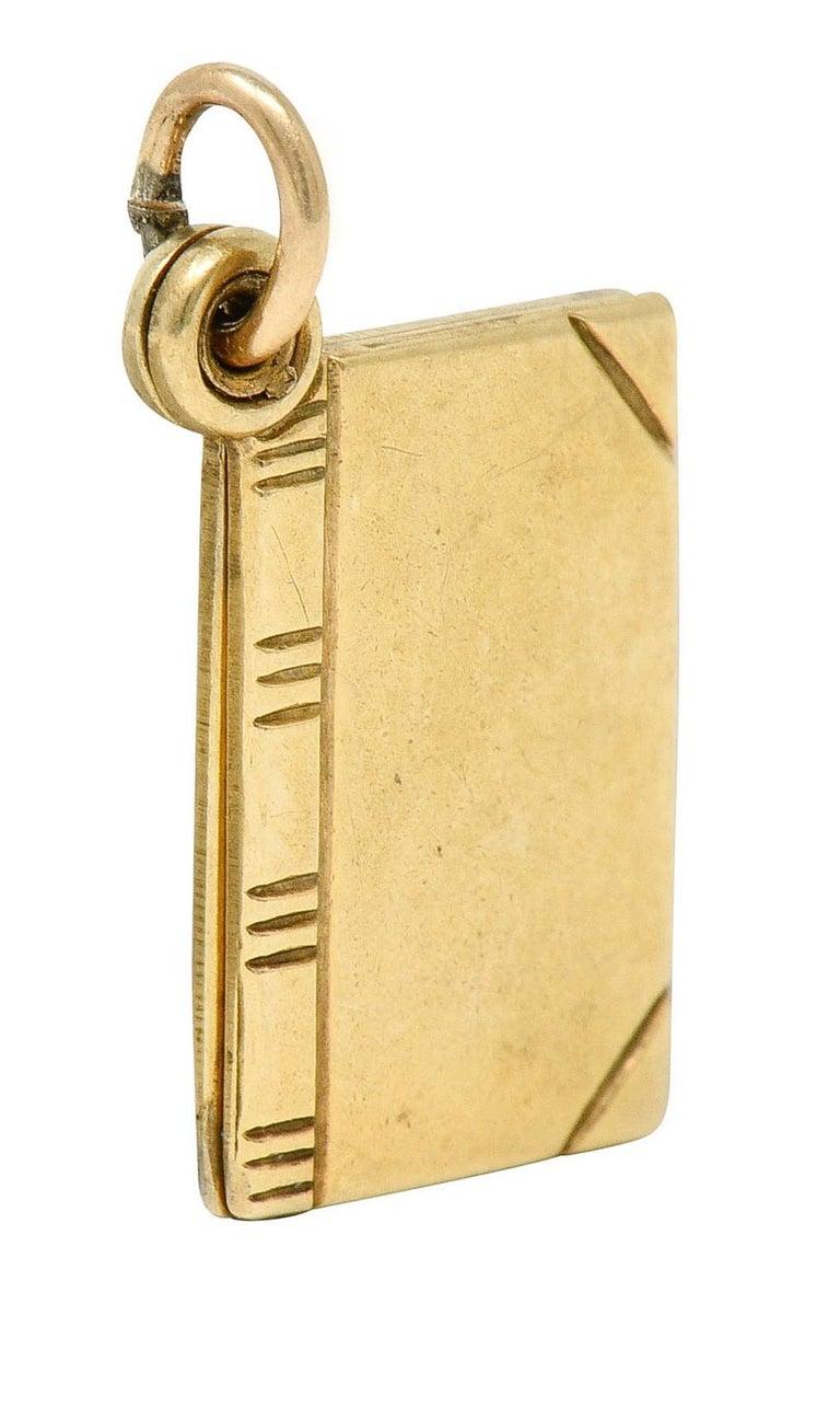 1940s Retro 10 Karat Gold I Love You Book Charm 1