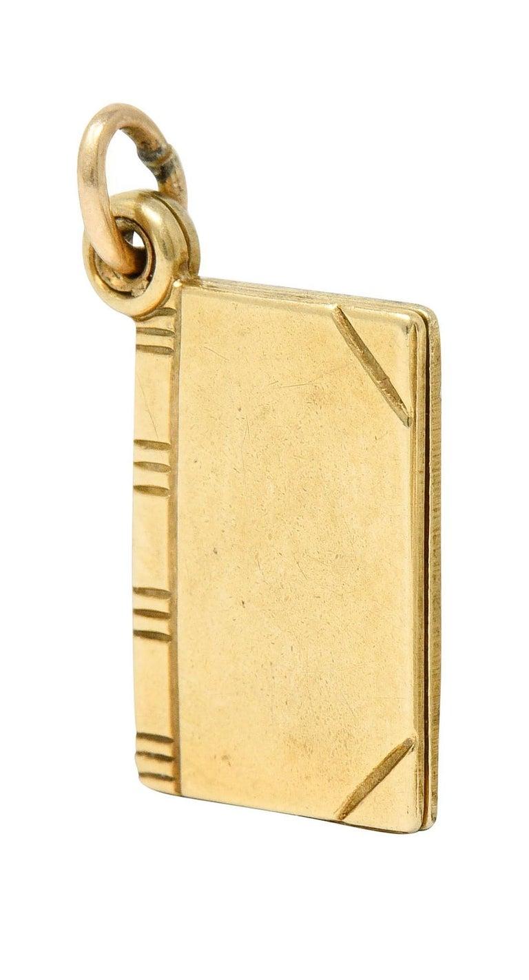 1940s Retro 10 Karat Gold I Love You Book Charm 3