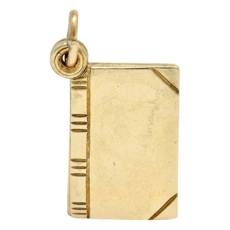 1940s Retro 10 Karat Gold I Love You Book Charm