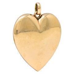 1940's Retro 10 Karat Rose Gold Heart Locket Pendant