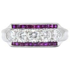 1940s Retro 1.15 Carat Diamond Ruby Platinum Band Ring