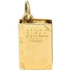 1940s Retro 14 Karat Gold Bible Charm