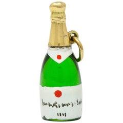 1940s Retro 14 Karat Gold Champagne Bottle Charm