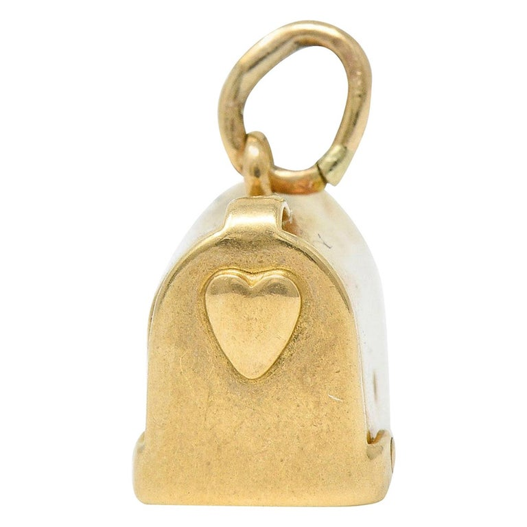 1940s Retro 14 Karat Gold Heart and Mailbox Charm