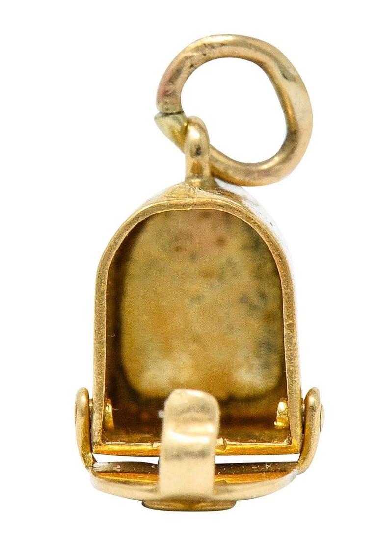 1940s Retro 14 Karat Gold Heart and Mailbox Charm 2