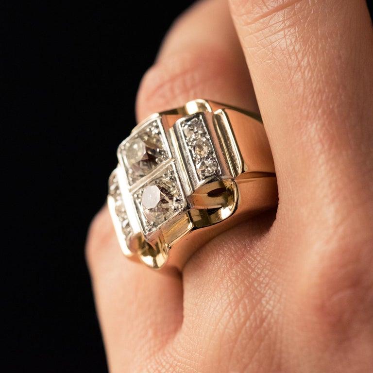 1940s Retro 2.30 Carat Diamonds 18 Karat Yellow Gold Platinum Tank Ring For Sale 6