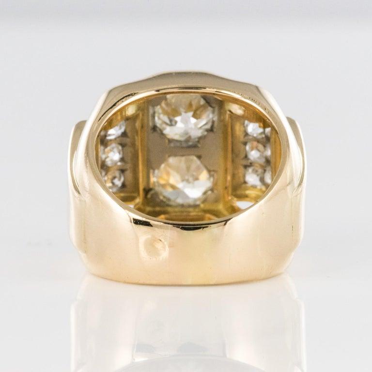 1940s Retro 2.30 Carat Diamonds 18 Karat Yellow Gold Platinum Tank Ring For Sale 9