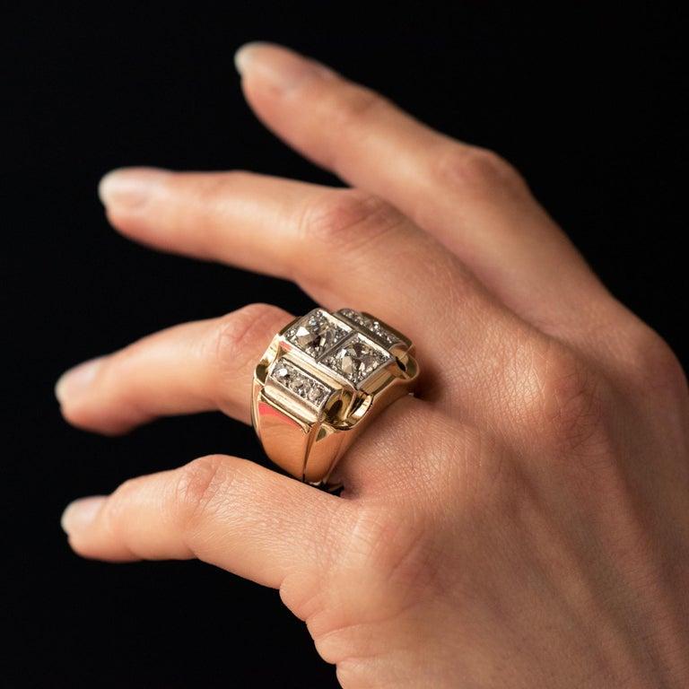 Women's 1940s Retro 2.30 Carat Diamonds 18 Karat Yellow Gold Platinum Tank Ring For Sale