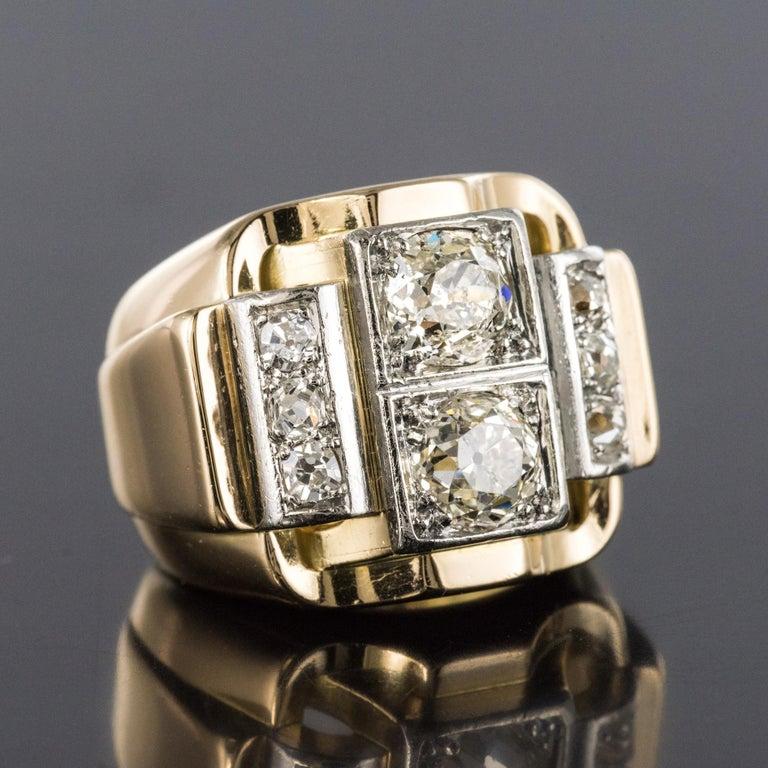 1940s Retro 2.30 Carat Diamonds 18 Karat Yellow Gold Platinum Tank Ring For Sale 1