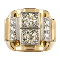 1940s Retro 2.30 Carat Diamonds 18 Karat Yellow Gold Platinum Tank Ring